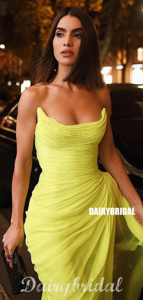 Chiffon Simple Designed Backless Tea-length Yellow Prom Dress, FC4448