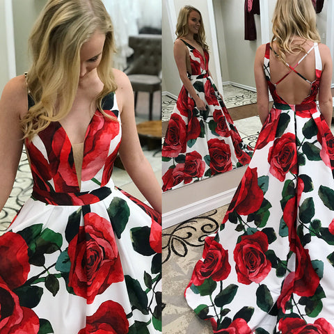 Unique Printed A-Line Prom Dresses, Charming Sleeveless Prom Dresses, D444