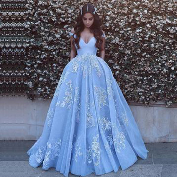Long Prom Dresses, Tulle Prom Dresses, Beautiful Party Prom Dresses, Applique Evening Dresses, Off-Shoulder Prom Dresses , V-Neck Floor-Length Prom Dresses, LB0445