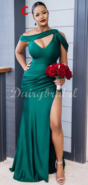 Charming Mismatched Mermaid Sexy High Slit Bridesmaid Dress, FC4468