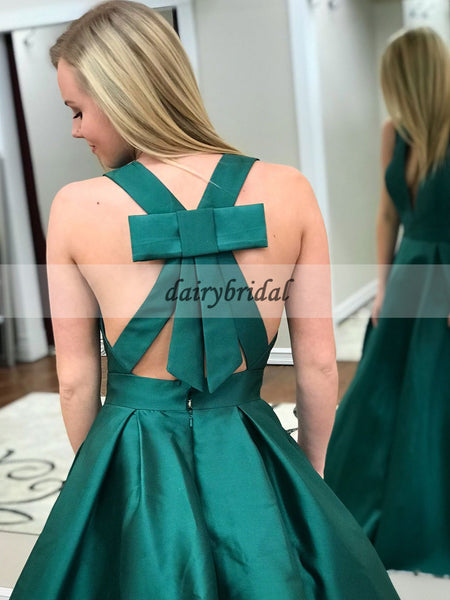 Deep V-Neck Satin Prom Dress with Bow-Knot, Charming Green Prom Dress, D447