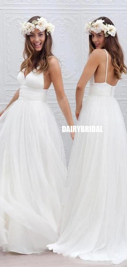 Long A-line Tulle Spaghetti Straps Beach Wedding Dress, Backless Deep V-Neck Wedding Dress, LB0447