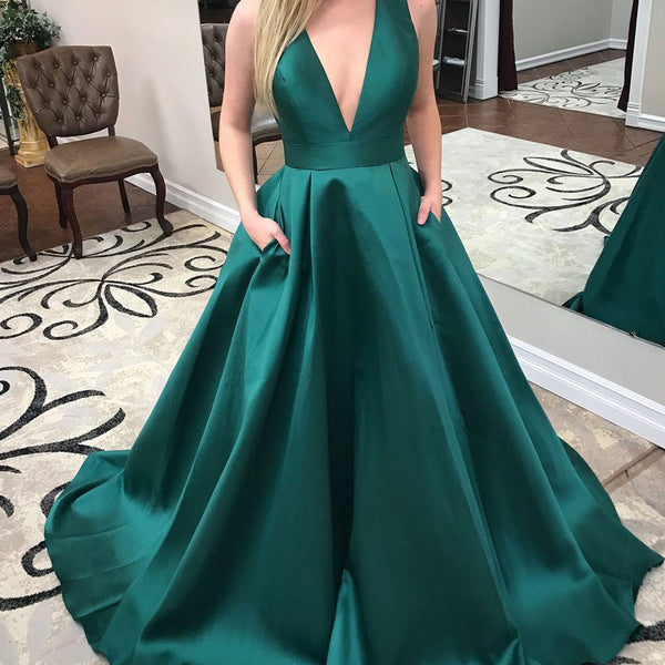 a227864d1e5 Deep V-Neck Satin Prom Dress with Bow-Knot