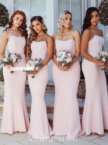 Pink Charming Mermaid Double Fdy Backless Sexy Bridesmaid Dress, FC4486