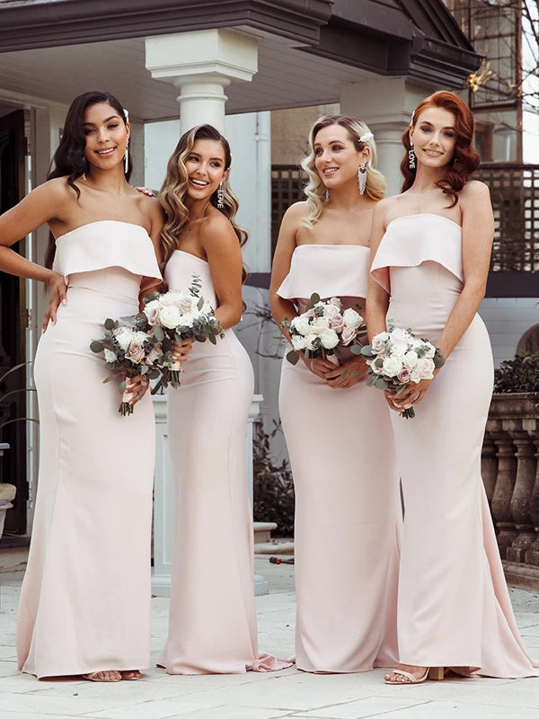 Gorgeous Mermaid Backless Straight Neckline Long Bridesmaid Dress, FC4487