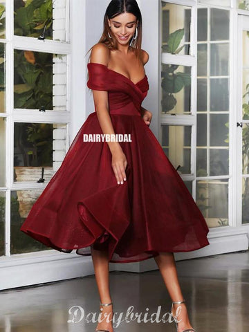 Off Shoulder A-line Organza Different Colors Homecoming Dress, FC4492