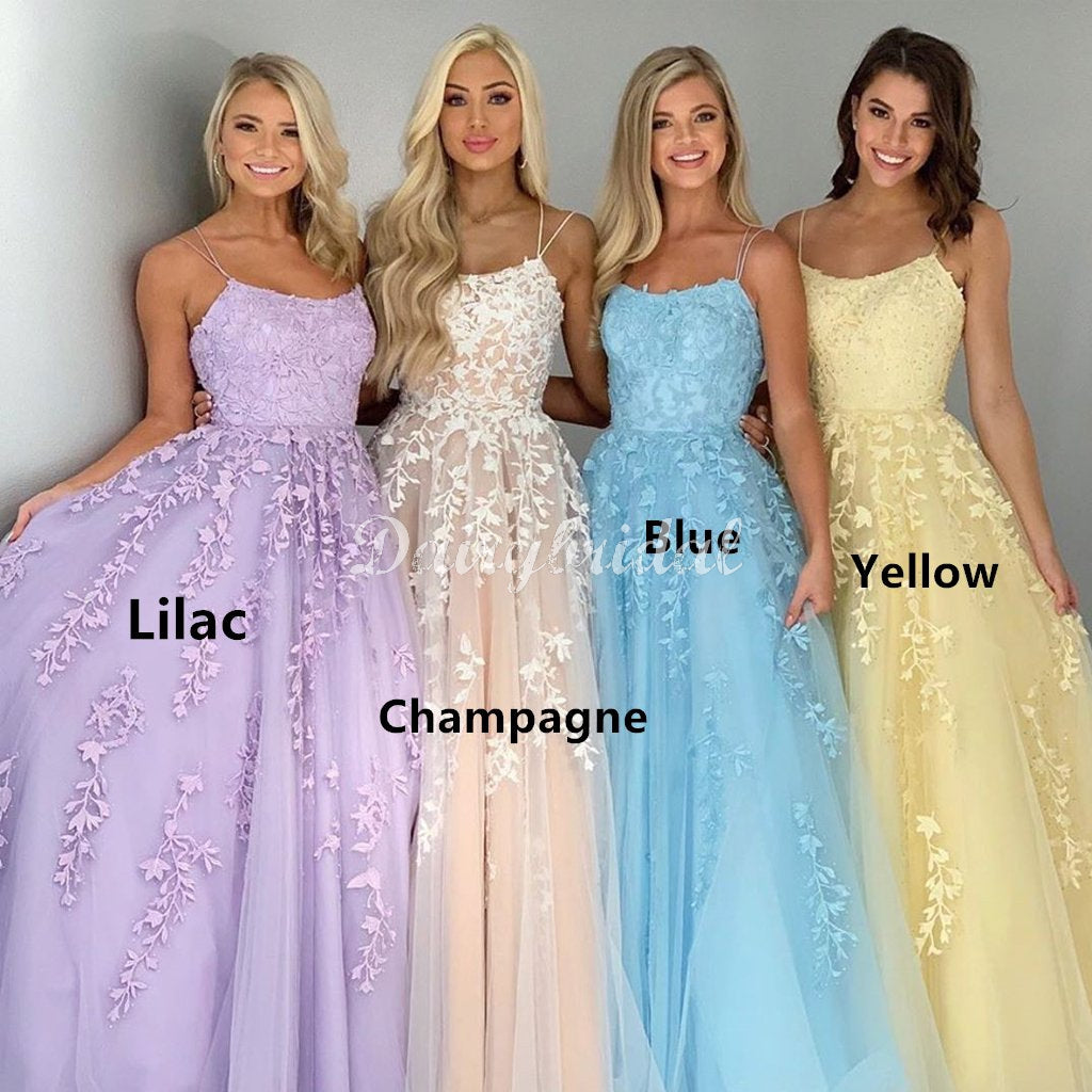 Strapghetti Straps A-line Lace Different Colors Cross Back Prom Dresses, FC4499