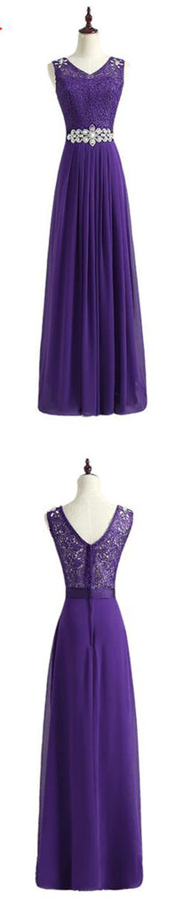 New Arrival Fashion Rhinestone Purple Party Lace and Chiffon Floor-Length bridesmaid dresses,220045