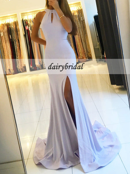 Sexy Slit Prom Dresses, Backless Mermaid Prom Dresses, D450