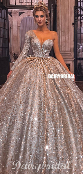 Gorgeous A-line One Shoulder Long Sleeve Sparkle Ball Gown Prom Dress, FC4510