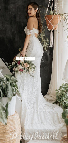 Gorgeous Mermaid Lace Open Back Sexy Slit Wedding Dress, FC4538