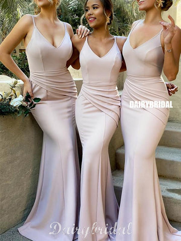 Sexy Mermaid V-neck Spaghetti Straps Pleated Bridesmaid Dress, FC4546