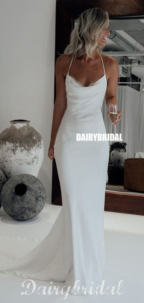 Simple Design Mermaid Corss Back Sexy Jersey Wedding Dress, FC4555