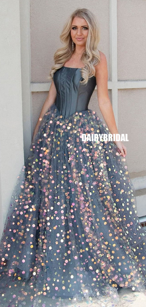 Stunning A-line Tulle Sweetheat Sparkle Sequin Prom Dress, FC4561