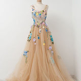 Long Prom Dresses, Tulle Prom Dresses, A-Line Party Dresses, Applique Evening Dresses, Sleeveless Prom Dresses , Flower Prom Dresses, LB0456