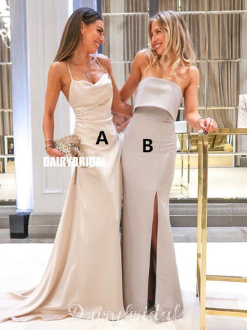 Mismatched Mermaid Backless Floor-Length Slit Bridesmaid Dress, FC4577