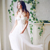Long Wedding Dress, Chiffon Wedding Dress, A-Line Bridal Dress, Off-Shoulder Wedding Dress, Lace Wedding Dress, Backless Wedding Dress, Beach Wedding Dress, LB0457