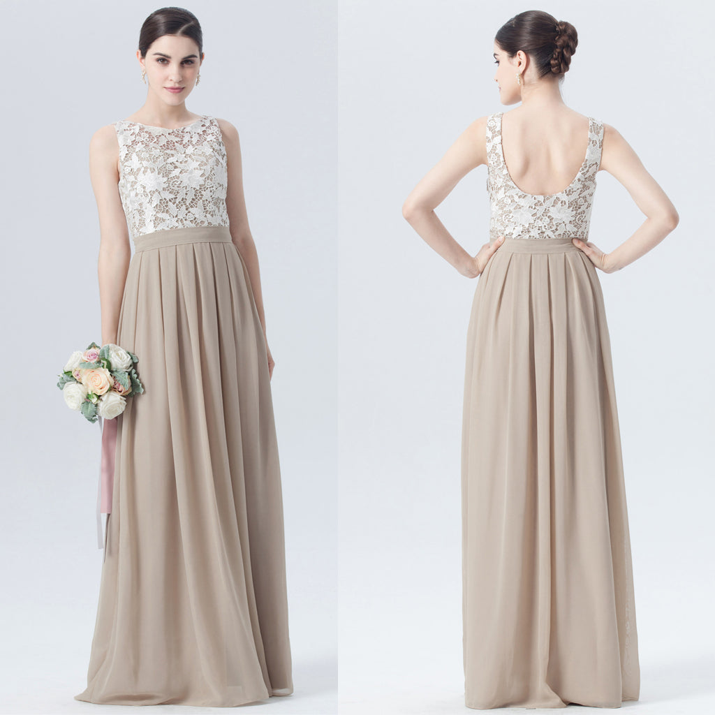 Lace Top Bridesmaid Dress, Chiffon Floor-Length Bridesmaid Dress, D458