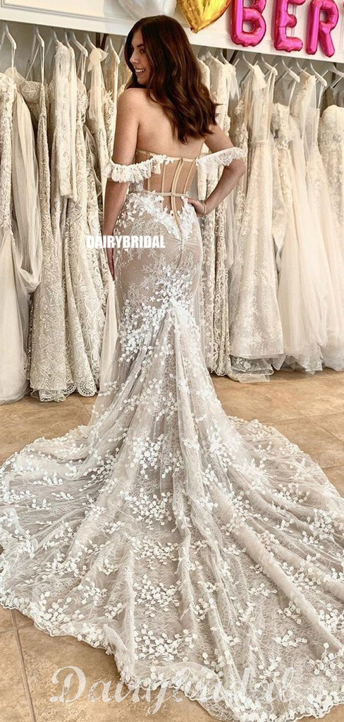 New Arrival Off Shoulder Sexy Mermaid Backless Lace Sweetheart Wedding Dress, FC4598