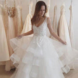 Lace A-Line Organza Wedding Dresses, V-Back Sleeveless Long Wedding Dresses, LB0459