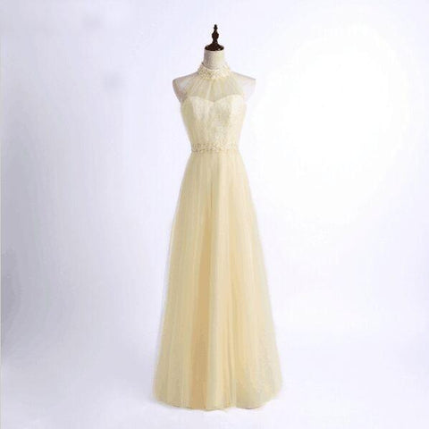 Simple Design A-Line Tulle Halter Beaded Floor-Length Sleeveless Bridesmaid Dresses,220046