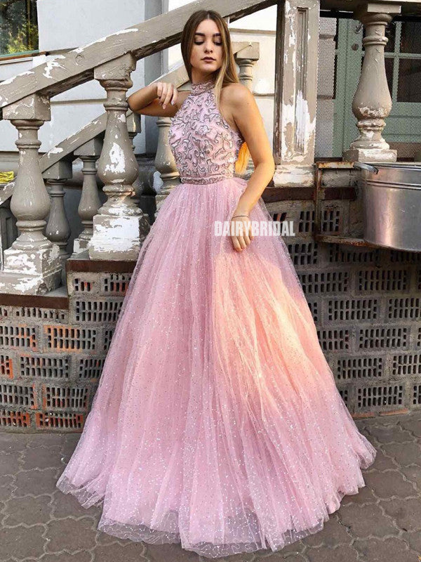 Honest A-line Tulle Floor-Length Halter Backless Lace Top Prom Dresses, FC4602
