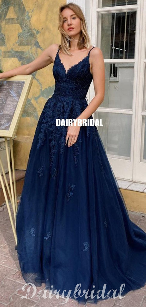 Navy A-line Tulle Cross Back Lace V-neck Sleeveless Prom Dress, FC4604