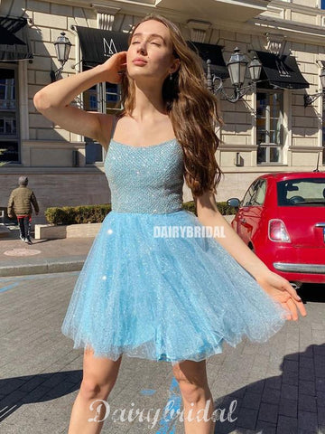 Sparkly A-line Backless Tulle Gorgeous Homecoming Dress, FC4614