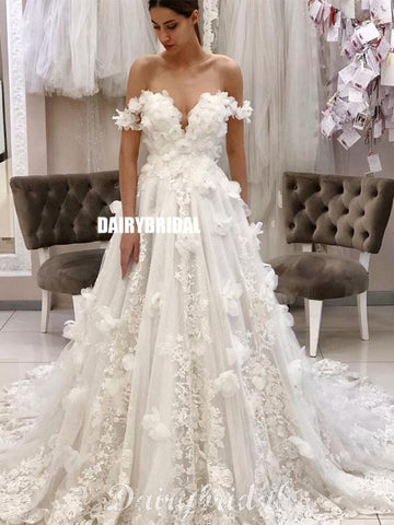 Honest A-line Off Shoulder Lace Backless Applique Wedding Dresses, FC4618