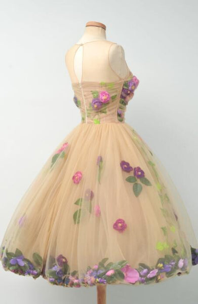 Short Tulle Homecoming Dress, Sleeveless Knee-Length Custom Made Homecoming Dress, LB0464