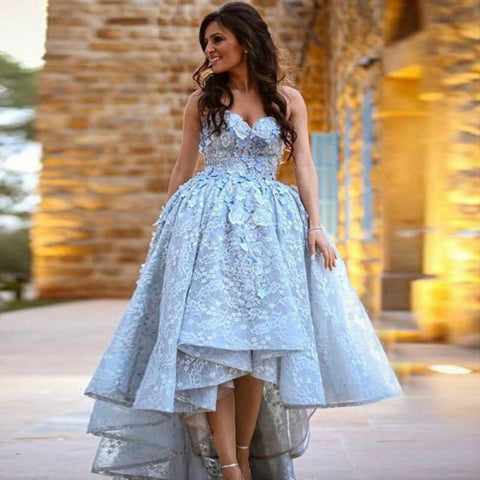 High-Low Applique Prom Dress, Sweet Heart Lace Prom Dress, D464
