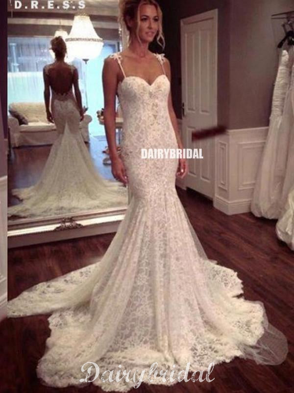 Long Wedding Dress, Lace Wedding Dress, Mermaid Bridal Dress, Backless Wedding Dress, Sexy Wedding Dress, Affordable Wedding Dress, Floor-Length Wedding Dress, LB0465