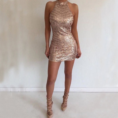 Mermaid Halter Backless Sparkle Homecoming Dress, Sexy Short Homecoming Dress, D465
