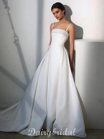 Elegant A-line Satin Spaghetti Straps Beaded Simple Designed Wedding Dress, FC4665