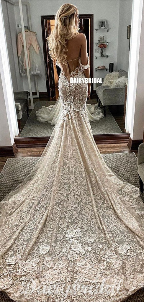 Off Shoulder Lace Mermaid Backless Sweetheart Wedding Dress, FC4686