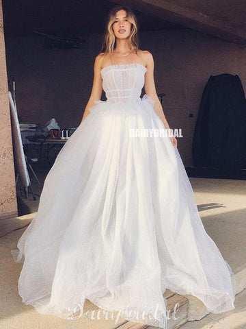 Honest A-line Tulle Straight Neckine Backless Wedding Dress, FC4689