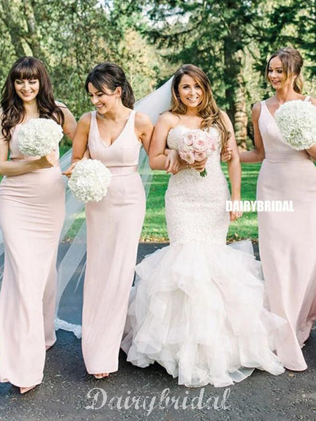 Honest V-neck Sleeveless FDY Long Bridesmaid Dress, FC4698