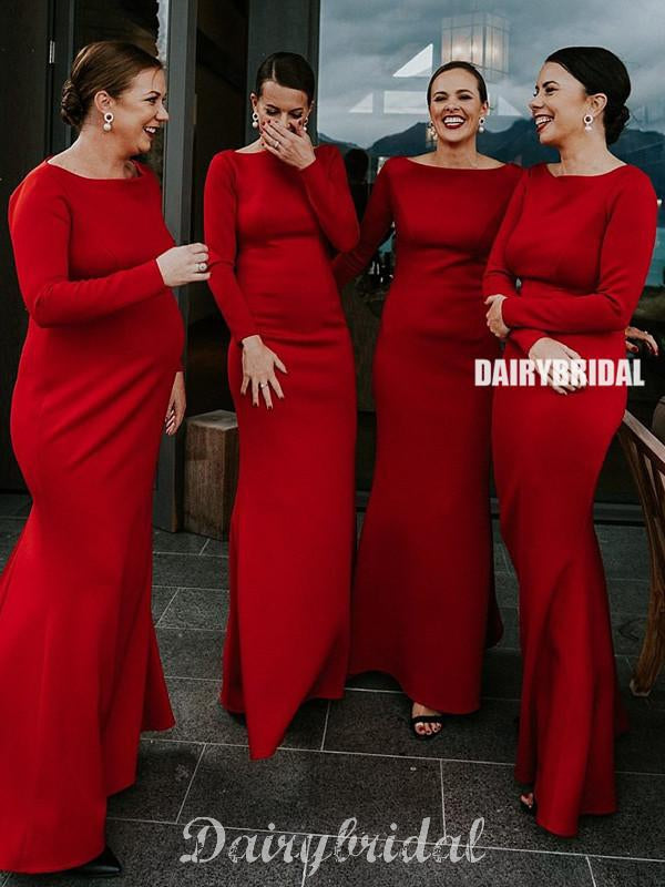 Gorgeous Long Sleeve Mermaid Red Long Bridesmaid Dress, FC4699
