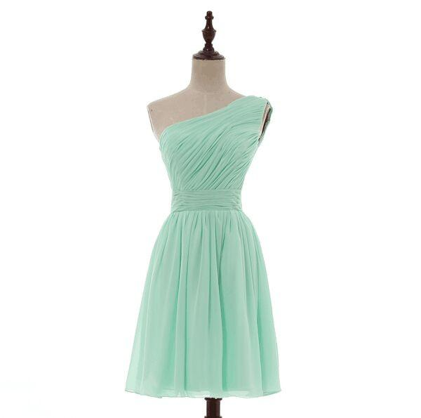 Mismatched Pleated Short Chiffon Bridesmaid Dress Mint Green 2017 Knee Length Wedding Bridesmaid Gowns,220047