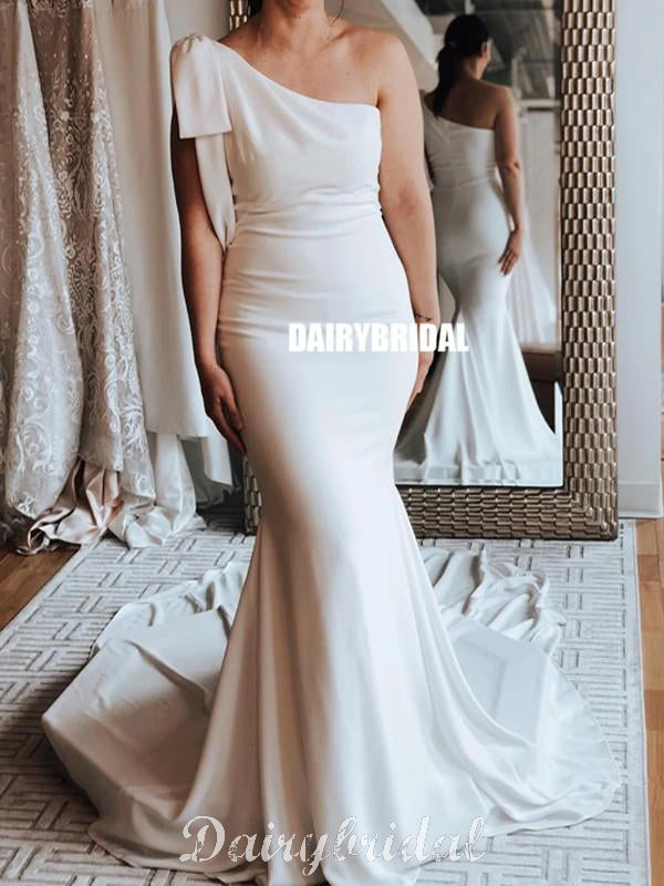 Simple Mermaid One-Shoulder Cheap Long Wedding Dresses, FC4722