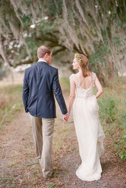 Long Wedding Dress, Chiffon Wedding Dress, A-Line Bridal Dress, Cap Sleeve Wedding Dress, Floor-Length Wedding Dress, Backless Wedding Dress, Beach Wedding Dress, LB0472