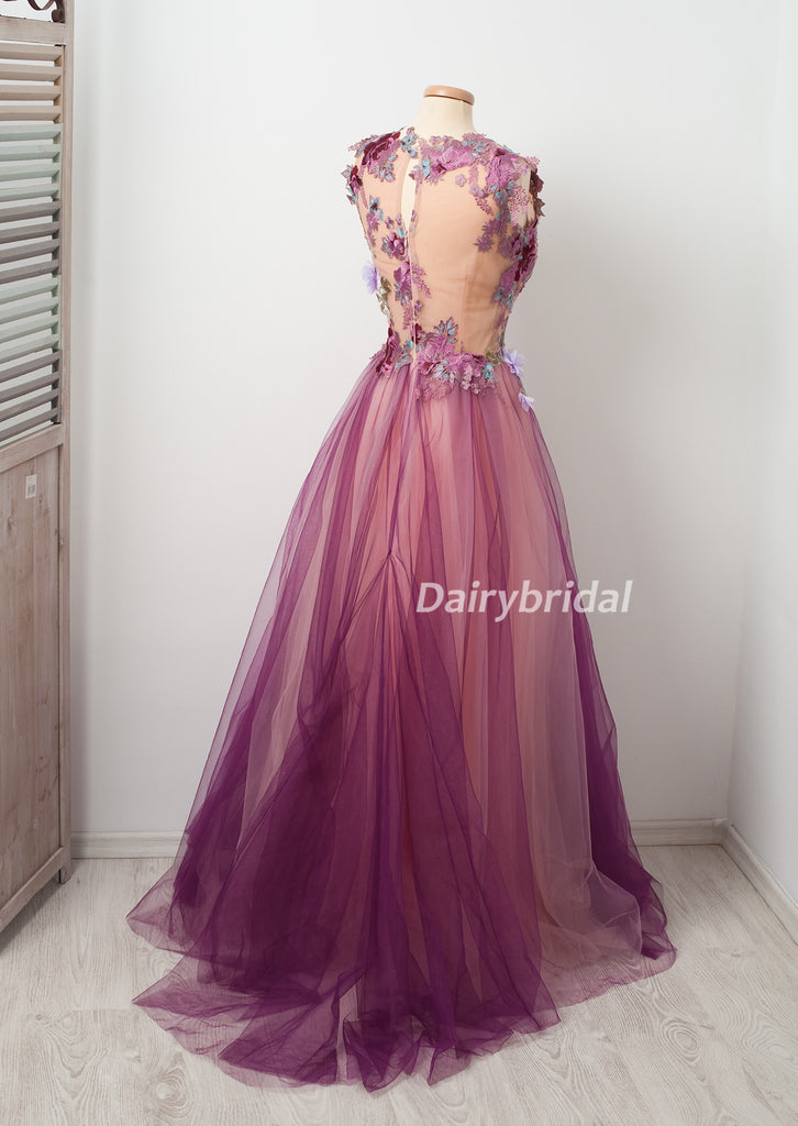 Charming Applique A-Line Prom Dress, Honeast Tulle Prom Dress, D474