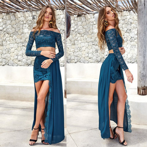 Long Prom Dresses, Lace Prom Dresses, Two Pieces Party Dresses, Chiffon Evening Dresses, Long Sleeve Prom Dresses , Off-Shoulder Prom Dresses, Sexy Prom Dress, LB0475