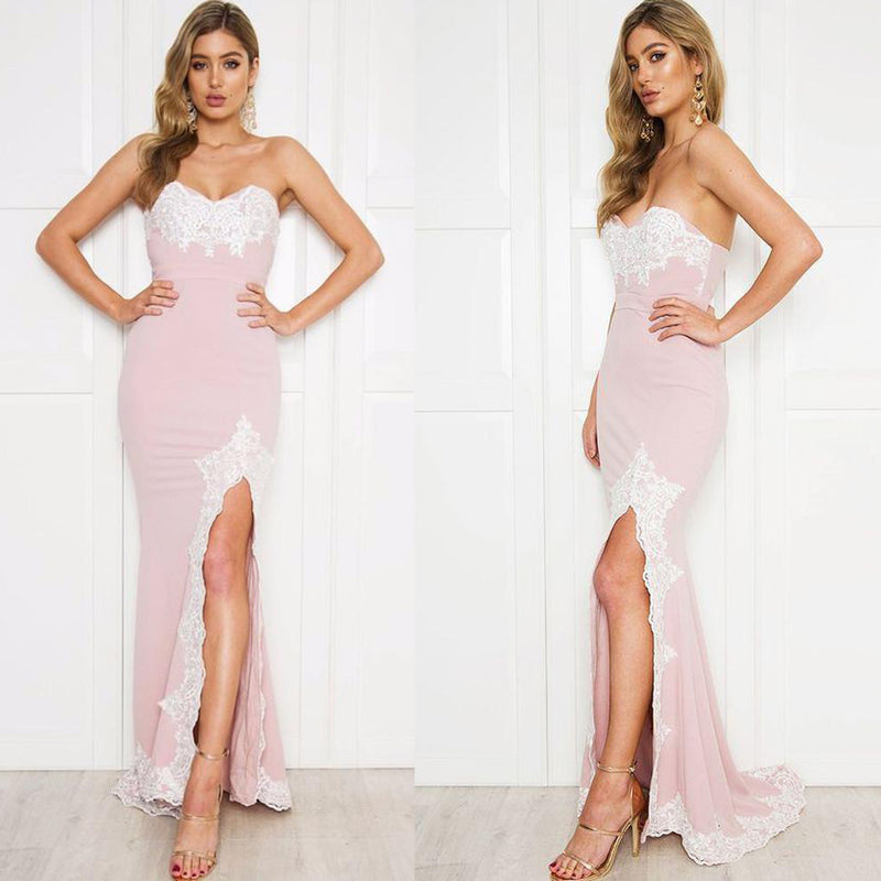 Pink Sweet Heart Lace Prom Dress, Double FDY Mermaid Slit Prom Dress ...