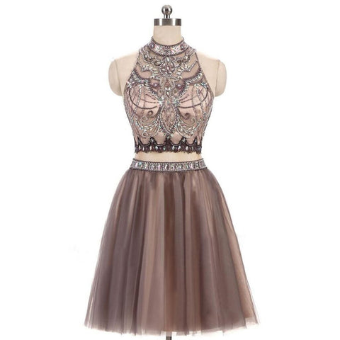Short Homecoming Dress, Tulle Homecoming Dress, Two Pieces Homecoming Dress, Sleeveless Junior School Dress, Open-Back Graduation Dress, Beading Homecoming Dress, LB0477