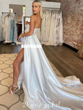 Charming Off Shoulder Satin Sexy Backless Slit Wedding Dresses, FC4782