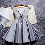 New O-neck Lace Satin Short Women Ball Gown Bridesmaid Dresses Off the Shoulder Wedding Party Prom Dress,220048