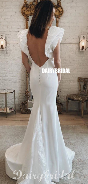 Stunning Mermaid Jersey Sexy Deep V-neck Backless Wedding Dresses, FC4809