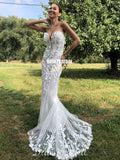 New Arrival Sweetheart Mermaid Lace Backless Wedding Dresses, FC4816