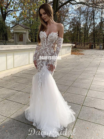 Sweetheart Long Sleeves Mermaid Lace Backless Tulle Sexy Wedding Dresses, FC4818